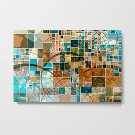 Elegant Abstract Tainted Squares Metal Print