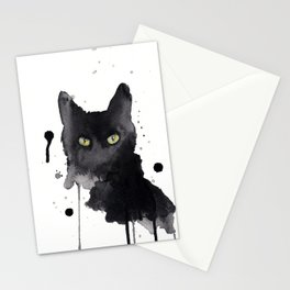 Black cat watercolor Stationery Cards