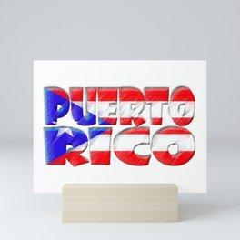 Puerto Rico Font with Puerto Rican Flag Mini Art Print