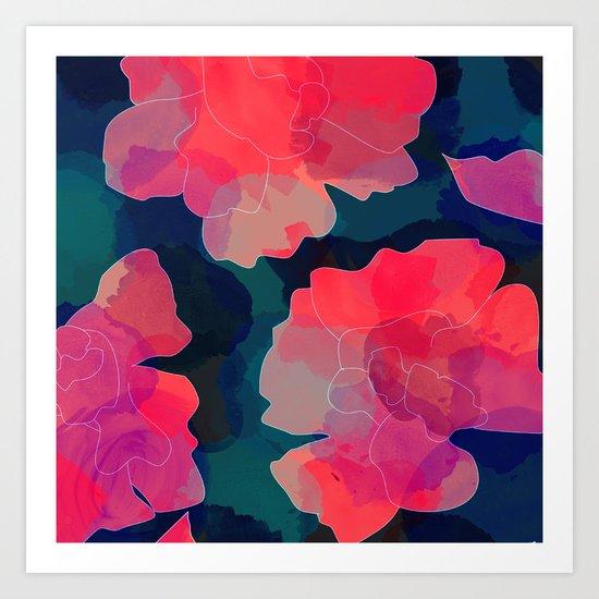 Blushing Flowers- Purple Art Print