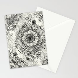 Messy Boho Floral in Charcoal and Cream  Stationery Cards
