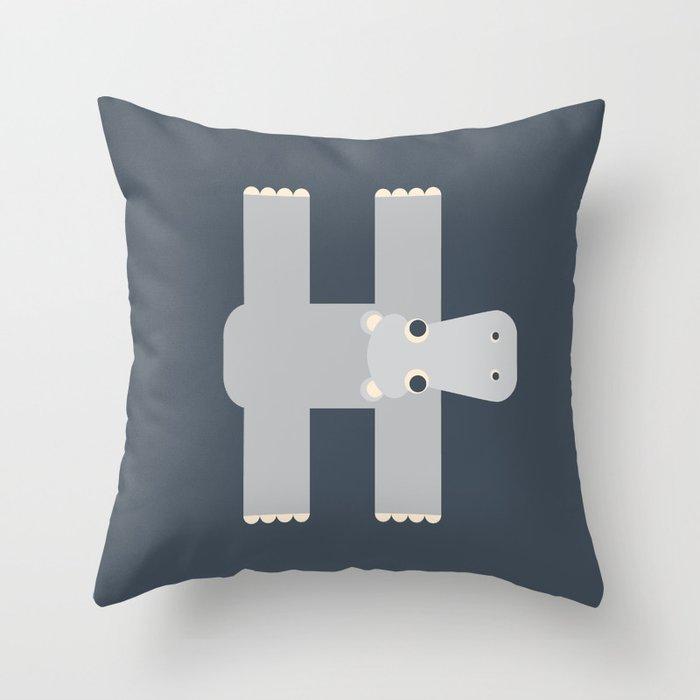 Letter H // Animal Alphabet // Hippo Monogram Throw Pillow