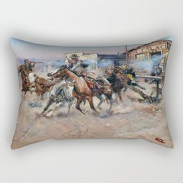 Smoke of a .45 by Charles Marion Russell (1908) Rectangular Pillow