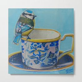 blue-tit and teacup Metal Print