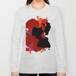 Red Black Forest Colorful Abstraction Digital Art - RegiaArt Long Sleeve T-shirt