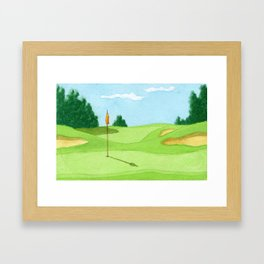 Golf Course Putting Green Watercolor Painting Framed Art Print