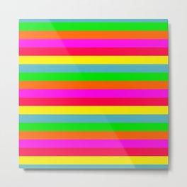 Neon Hawaiian Horizontal Rainbow Cabana Stripes Metal Print