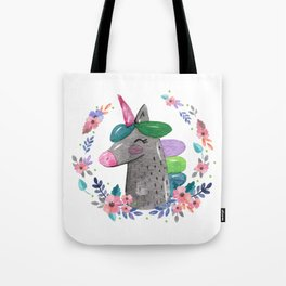 Happy Unicorn Floral Watercolor Tote Bag