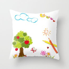 Apple Tree and Birds Throw Pillow