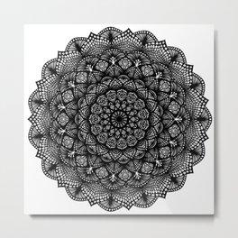 Black and White Lace Mandala - LaurensColour Metal Print