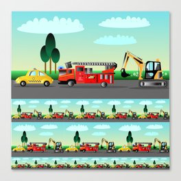 Three Vehicles Repeat Canvas Print