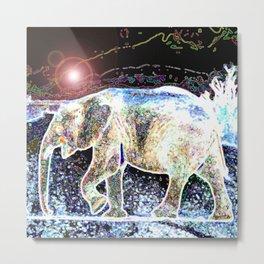 Pop Art Glowing Elephant Metal Print