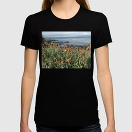 Orange blooms along the Pacific T-shirt