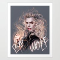 bad wolf Art Prints featuring Bad Wolf by jasric