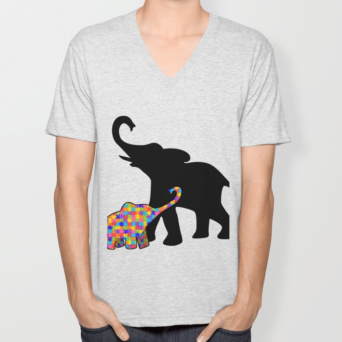 Elephant Autism Awareness Support Unisex V-Neck