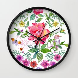 Bowers of Flowers Wall Clock