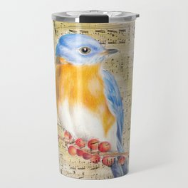 Blue Bird Music Collage Shabby Chic Travel Mug
