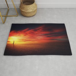 scenic sunset silhouette Rug