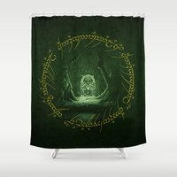 gondor Shower Curtains featuring Lord Of The Ring - Durin Gate by alifart