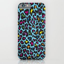 COLORFUL NEON LEOPARD PRINT iPhone Case