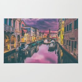 Canal and the Boats Rug