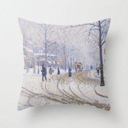 Snow, Boulevard de Clichy, Paris Throw Pillow