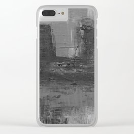 Paint Texture (Black and White) Clear iPhone Case