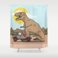 jurassic park Shower Curtains featuring Jurassic Park - T-Rex by Michael Walchalk