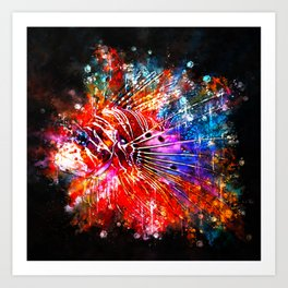 lionfish splatter watercolor Art Print