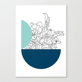 VESSEL - Floral Ink in Mint & Peacock Canvas Print