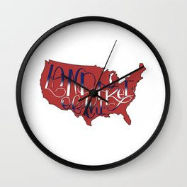 Land of the Free, USA, 4th of July RED Wall Clock