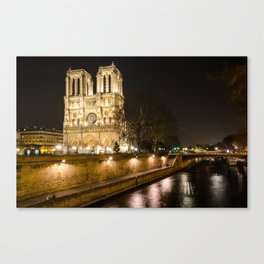 The Notre Dame Cathedral in Paris by the Siene River Canvas Print