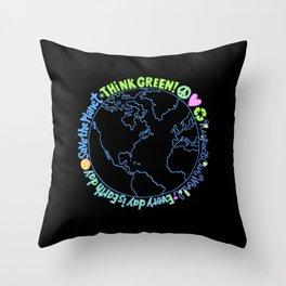 Think Green World Throw Pillow