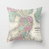 boston map Throw Pillows featuring Vintage Map of Boston Harbor (1857) by BravuraMedia