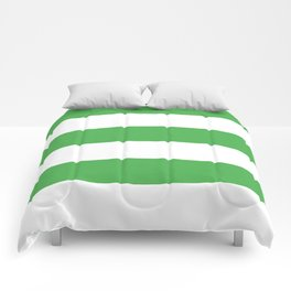 Even Horizontal Stripes, Green and White, XL Comforters