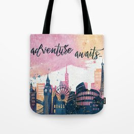 Adventure Awaits Watercolor Tote Bag