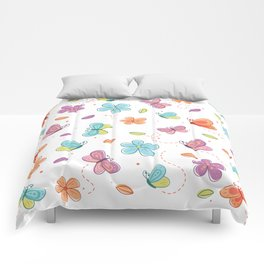 Colorful Butterflies And Flowers Pattern Comforters