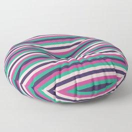 Pink green purple geometrical stripes pattern Floor Pillow