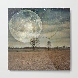 Supermoon Arrival - full moon photo, surreal landscape tree photo Metal Print