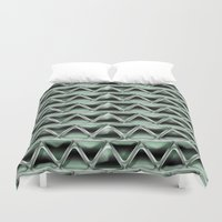 malachite Duvet Covers featuring Malachite Triangles by naturessol
