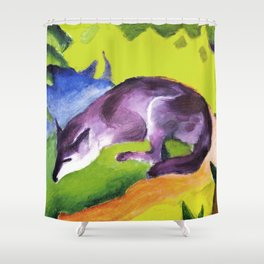 Blue Fox by Franz Marc - Vintage Painting Shower Curtain