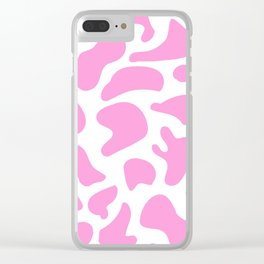 Girly Soft pink Cow Spots Pattern Clear iPhone Case