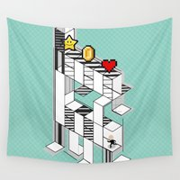 8 bit Wall Tapestries featuring life 8 bit game by Daniac Design