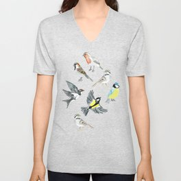 Illustrated Birds Unisex V-Neck