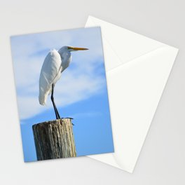 Perching White Egret Stationery Cards