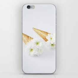 white flowers in ice cream cones iPhone Skin