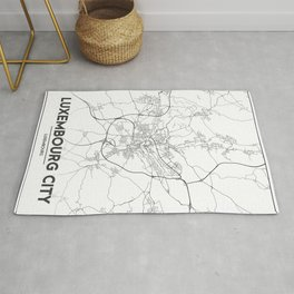 Minimal City Maps - Map Of Luxembourg City, Luxembourg. Rug