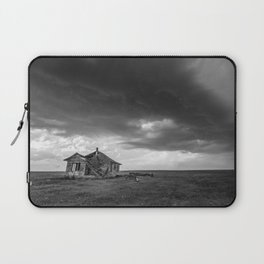 Sweeping Down the Plains - Abandoned House and Storm in Oklahoma Laptop Sleeve