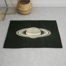 Print of a drawing by Warren De la Rue of Saturn and its moons Tethys and Enceladus - 1852 Rug