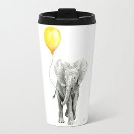 Elephant Watercolor Yellow Balloon Whimsical Baby Animals Travel Mug